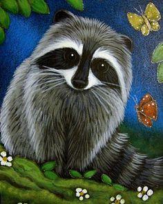 raccoon paintings | Art: RACCOON & 1ST SPRING FRIENDS by Artist Cyra R. Cancel