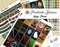 Printable stickers Harry Potter | 4 pdf | Téléchargement instantané | Planner, Happy planner