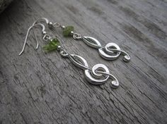 Sterling Treble Clef Earrings with Peridot  by silverdawnjewelry