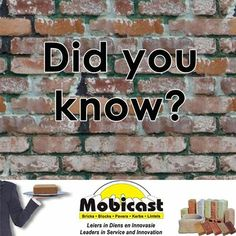 Mobicast did you know fact: Bricks are made out of 20% sand and clay and are used to make houses and it's a building material? #facts #bricks