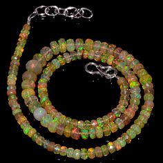"""56CRTS 4to7.5MM 18"""" ETHIOPIAN OPAL FACETED RONDELLE BEADS NECKLACE OBI3089 #OPALBEADSINDIA"""