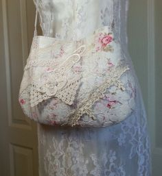 Lace Bag SMALL Shabby Chic Vintage Lace Bag by Pursuation