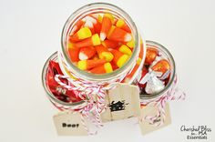 Candy filled mason jars...cute!