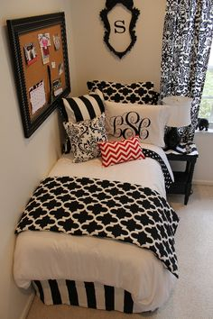 Black and Red Designer Bed in a Bag Sets for Dorm, Apartment, Sorority, and Teen Rooms Monogram Sham Red and White Chevron Black and White Quatrefoil Black and White Stripe http://decor-2-ur-door.com/designer-dorm-bed-in-a-bag-sets on Decor 2 Ur Door http://www.decor-2-ur-door.com/blog/galleries/black/img_2933.jpg #Bedroom