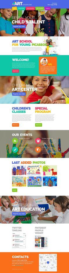 Art School For Kids #website #template. #themes #business #responsive #websitethemes