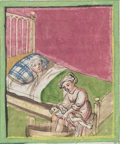 Historienbibel. Marienleben Augsburg, 1457 Cgm 206  Folio 51 Medieval Bed, Medieval Life, Bed Scene, Medieval Crafts, Medieval Manuscript, Blue Pillows, 15th Century, Blue Plaid, Middle Ages