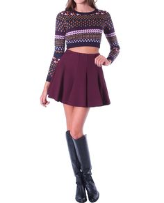 Moody Rouge Skater Mini Skirt Wine and Print Crop top and Knee high boots