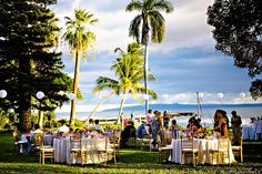 Paper Lanterns around reception site. Olowalu Plantation House - Maui Oceanfront Wedding Location