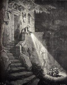 Illustration for Charles Perrault's Le Petit Poucet from Histoires ou Contes du Temps passé: Les Contes de ma Mère l'Oye(1697). Gustave Doré's illustrations appear in an 1867 edition entitled Les Contes de Perrault.