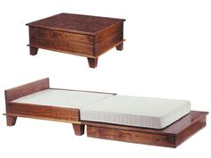 Coffee Table that Transforms into a Guest Bed! Cool, no more couch surfing. Now guests will have a coffee table bed of their own! Fold Out Beds, Folding Beds, Convertible Coffee Table, Convertible Furniture, Guest Bed, Guest Room, Guest Suite, Master Suite, Tiny House Living