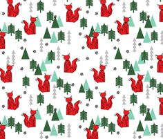 Christmas Fox - White background by Andrea Lauren fabric by andrea_lauren on Spoonflower - custom fabric