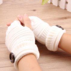 Manusi cu jumatate de degete pentru Femei, Toamna si Iarna, Tricotate, calduroase