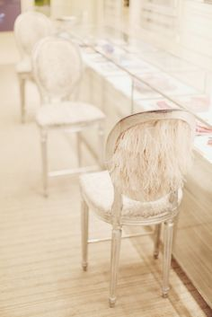 A chair at the Christian Dior boutique Dior Store, Lucite Chairs, Fur Chairs, Ghost Chairs, Ikea Chairs, Dining Chairs, Cherry Blossom Girl, Art Deco, Take A Seat