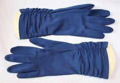 Vintage Women's Navy Blue Dress Gloves with by ilovevintagestuff