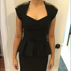 Stop Staring pin up dress Stop Staring! Black pin up dress with gold embellishments on the shoulders.  Very well made. Never worn. Very flattering. Stop Staring! Dresses Maxi