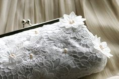 Bridal Lace Clutch with Freshwater Pearls in White 8inch by ANGEEW, $90.00