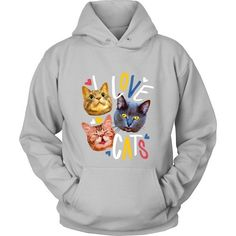 """""""I Love Cats"""" T-shirt for all cat lovers around. Show how much you love cats with this t-shirt and many others by Teelime. Different styles and colors available too."""