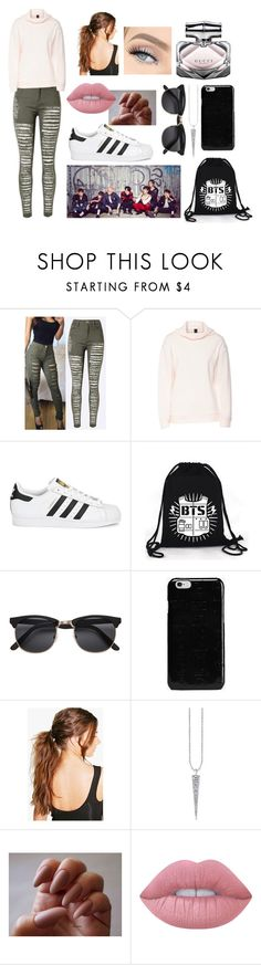 """""""BTS Concert"""" by lydie31 on Polyvore featuring mode, adidas Originals, Maison Margiela, Boohoo, Lime Crime, Gucci, Pink, GREEN, adidas et superstar"""