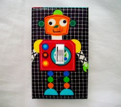 Robot Single Light Switch Cover Colorful by cathyscraftycovers, $10.00