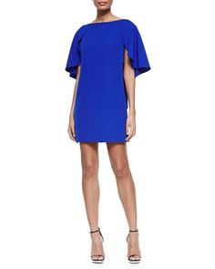 Draped-Back Stretch-Cady Cocktail Dress, Cobalt by Milly at Bergdorf Goodman.