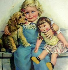Frances Tipton Hunter (1896 – 1957, American) - Three is company.  Love the innocence of her work ♥