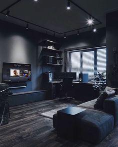 All black living room design. Home Office Setup, Home Office Design, Desk Setup, Black Interior Design, Bedroom Setup, Game Room Design, Dark Interiors, Dream Home Design, Black Rooms