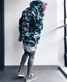 Pink with blue camo