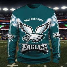 Check out all our Philadelphia Eagles merchandise! Philadelphia Eagles Apparel, Philadelphia Eagles Merchandise, Graphic Sweatshirt, Eagles Sneakers, Motorcycle Jacket, Bomber Jacket, Men And Women, Sport Outfits