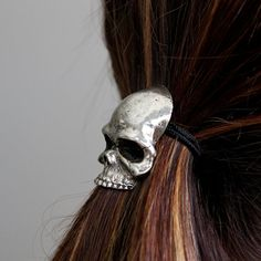 Silver Skull Pony Tail Holder / Necklace in White Bronze  by mrd74, $59.00