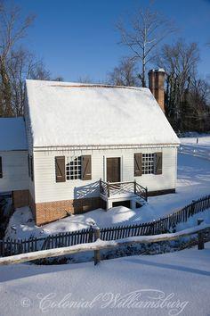 Cabinet Maker's Shop in Winter snow. Colonial Williamsburg's Historic Area, Williamsburg, Virginia. Photo by David M. Doody