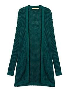 Casual Women Long Sleeve Pure Color Long Knit Pocket Cardigan