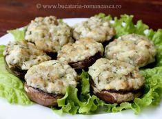 Ciuperci umplute cu branza - Bucataria Romaneasca .ro Salmon Burgers, Baked Potato, Potato Salad, Potatoes, Baking, Ethnic Recipes, Food, Salmon Patties, Meal
