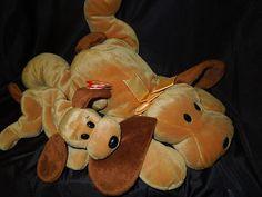 Rare Bones 1994 TY Beanie Baby Hound Dog plush & matching large Pillow Pal
