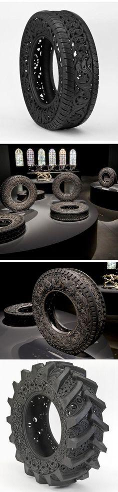 Wim Delvoye  Pneus de carro esculpidos se transformam em arte