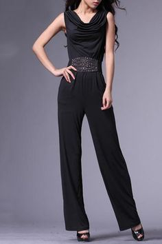 Jumpsuit crafted in terylene, featuring a draped neck, sleeveless design, a rivet detailed bodycon waistband, full length legs, in a regular fit.