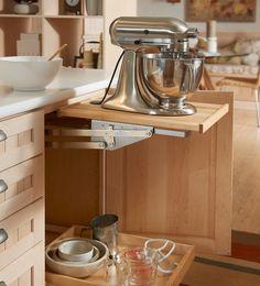 Mixer lift shelf (can buy Rev-a-Shelf Heavy Duty Mixer Lift to make your own)