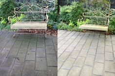 Pressure cleaning a stamped concrete front pathway.