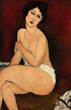 "Amedeo Modigliani ""Nu assis sur un divan (La Belle Romaine)"""