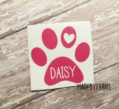 Paw Print with Name Vinyl Decal, Pet Decal, Dog Decal, Paw Print Decal, Car…