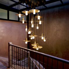 Our good friends Timberyard created this gorgeous Brass Drop Hat and 002 LED chandelier in the entrance to their members club in the basement of their Soho Coffee shop.