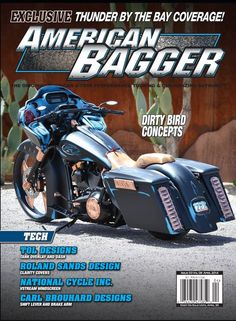 April 2014, American Bagger Thinking of New Wheels and Brakes? We have to Buyer's Guide with the latest products in the industry for your research.Events featured include the Progressive  International Motorcycle Show in New York and Thunder By The Bay in Saratosa, Florida. The bikes featured are jaw dropping so make sure to pick this copy up, especially with John Shope's Dirty Bird Concepts on the cover!