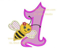 Bumble bee number applique, machine embroidery applique design, girly bumblebee birthday, cute bee, digital file, bee-002