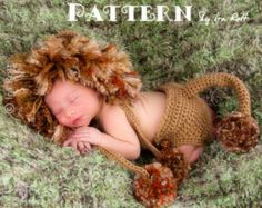 NEW PATTERN - Jungle Lion Hat and Diaper Cover Set - Crochet PDF Pattern for 3 sizes 💜 purchased this pattern, how adorable is this? Crochet Animal Hats, Crochet Lion, Crochet Baby Cocoon, Crochet Baby Beanie, Crochet Bebe, Crochet Baby Clothes, Baby Knitting, Crochet Hats, Crochet Dresses