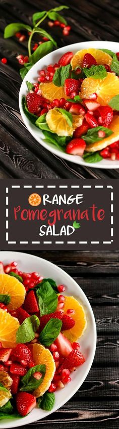 This delicious Orange Pomegranate Salad is Vegan and SUPER yummy! Plus it even has strawberries - YUM! | ScrambledChefs.com