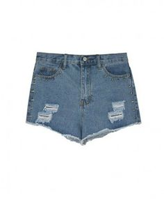 Ripped Denim Shorts with Raw Edges and Spiked Embellish