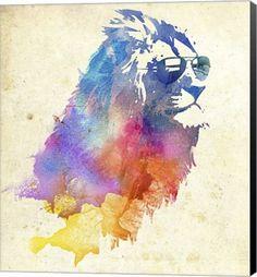 Sunny Leo Animal Canvas Wall Art Print by Robert Farkas