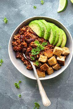 Enchilada Bowls with Spicy Tofu