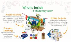 Discovery Box from Green Kid Crafts | Award-winning Themed boxes exploring topics like Geography, Ocean Science, Space, Safari, and Volcanos are designed by kids & experts