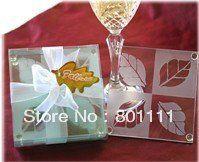 4 Pc Tempered Glass LOVE Coaster Set Wedding Favors