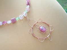 Mommy and Baby Pink Turtle Pendant Necklace by BirdysNest on Etsy, $28.00